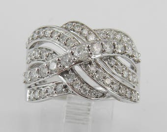 1.00 ct Diamond Wedding Ring Anniversary Cocktail Cluster White Gold Band Size 7