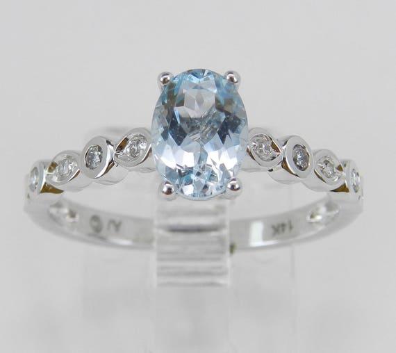 Diamond and Aquamarine Engagement Ring Aqua Promise 14K White Gold Size 7