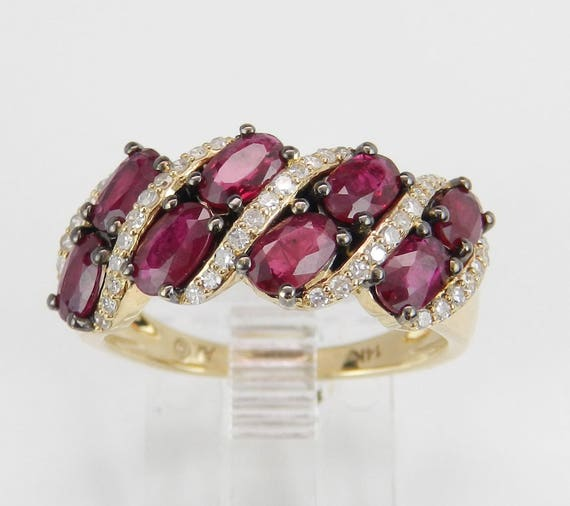 2.25 ct Diamond and Ruby Wedding Band Anniversary Ring 14K Yellow Gold Size 7