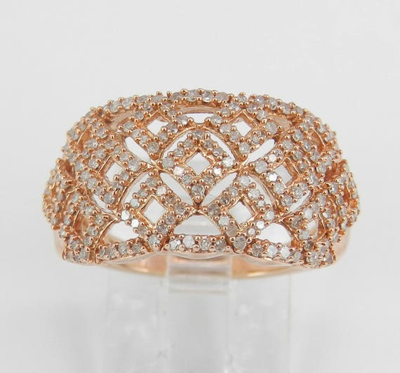 Rose Gold Diamond Right Hand Cocktail Cluster Ring Anniversary Band Size 7