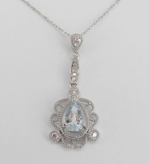 "Diamond and Aquamarine Drop Pendant Unique Necklace White Gold 18"" Chain Aqua March Gemstone"