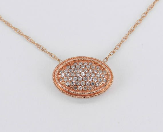 "Rose Gold Diamond Cluster Necklace Unique Pendant 18"" Chain Wedding Gift"