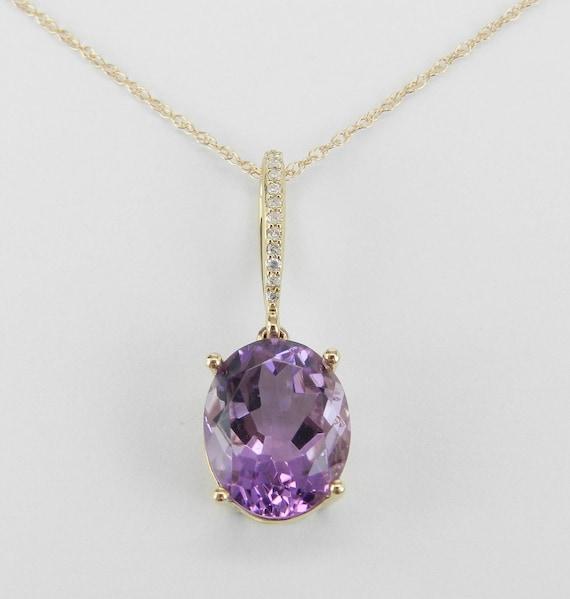 "Diamond and Amethyst Drop Necklace Purple Pendant 18"" 14K Yellow Gold Chain February Birthday"