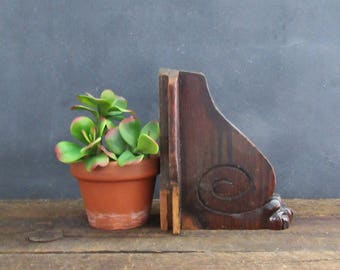Wooden Architectural Salvage Piece, Wood Architectural Bracket, Antique Furniture Fragment, Bookend