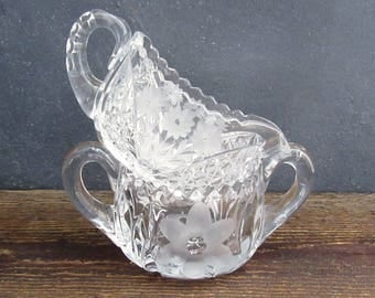 Antique Mismatched Cut Glass Cream and Sugar, Vintage Cut Glass Serving Pieces, Crystal Sugar Bowl and Creamer