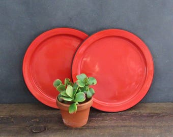Two Red Enamelware Plates, Red Enamel Chargers, Small Red Enamelware Trays