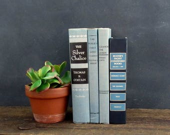 Old Book Decor, Decorative Books, Blue Book Set, Set of 4 Vintage Books, FREE SHIPPING