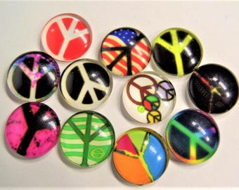 Peace Sign print cabochons, 16mm. 5CT, Random selection, S57