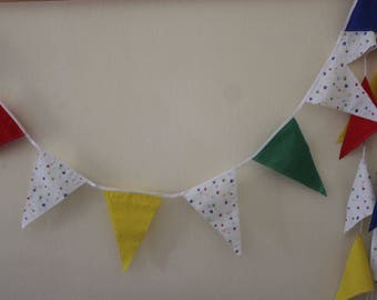 Flag Bunting, Party Flags, Fabric Garland, Red, Yellow Green and Blue Paws Party Bunting