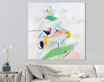 "Large Abstract painting 32x32"" Modern White Painting with green and pink Playfulness 02 original art  by Duealberi"