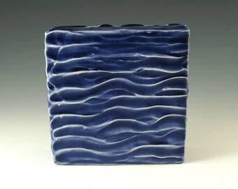 Blue Pottery Art Decor, Wall Art, Handmade Pottery, Wall Hanging, Wall Decor, Office Decor, Modern Art, Ceramic Box, Home Decor, W030