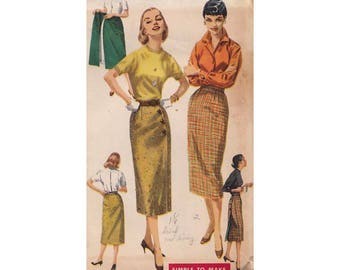 "1950s Wrap Around Wiggle Skirt Simplicity 1688  ""Wonderful Whiz-Wrap"" Waist 26 Hip 36 Vintage Sewing Pattern"