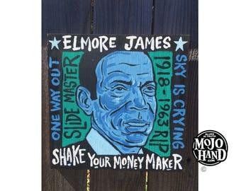 Elmore James blues folk art painting on wood by Grego of mojohand.com - outsider art