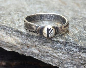 "Fehu ""F"" Elder Futhark Wealth Rune Ring - Distressed Rustic Oxidized 4mm Sterling Silver Band - Hand Forged Norse Viking Metalwork"