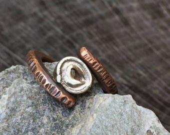 Rustic Copper & Sterling Silver Ring - Modern Viking Jewelry - Unisex Men's or Women's Size 10 Band - Unique Forged 7th Anniversary Gift