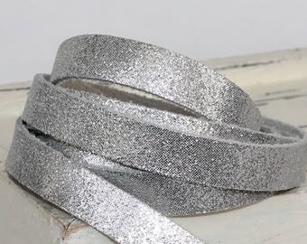 15mm  Silver Leather Strap, Shiny Genuine Leather , 1 Yard