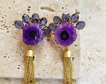 Agate Gemstone Chain Earring