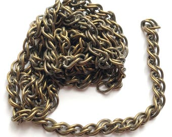 Vintage Double Link Curb Chain,Over 3 Feet, Jewelry Chain, Patina Brass, Vintage Jewelry Supplies, Curb Chain, B'sue Boutiques, Item03555