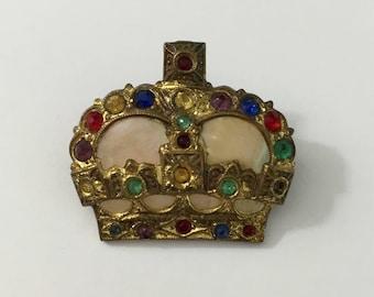 1950's Crown Brooch Kitsch Royal