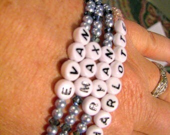 Mother's Bracelet, Personalized Grandmother Bracelet, Pearl Name Bracelet, Four Strand Personalized Jewelry, Family Name Bracelet