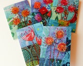 FLOWERS 2 - set of 5 colourful greetings cards (with envelopes)