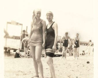 """Vintage Snapshot """"Men Optional"""" Defaced Scratched Out Teenage Boys Pretty Girls Holding Hands Swimsuits Beach Found Vernacular Photo"""