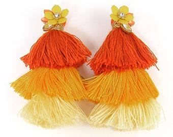 Large Yellow Tassel Earrings, Three Tiered Tassel Earrings, Boho Orange Fringe Dangle Earrings, Yellow Flower Post Earrings