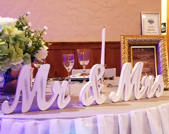 Mr And Mrs Sign Wedding Sweetheart Table Decor Vintage Script Reception Centerpiece