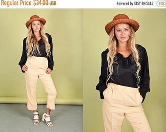 FLASH SALE 80s Pastel Yellow Trousers Vintage High Waisted Pleated Pants