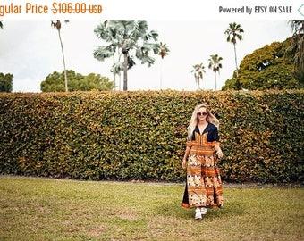FLASH SALE 60s Orange Paisley Jumpsuit Vintage Black Palazzo Bohemian Boho Wide Legged Jumpsuit