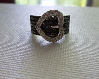 Sterling Silver Heart Buckle Ring