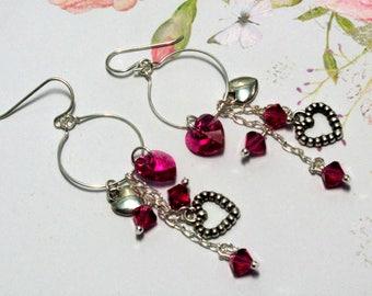 Pink Heart Earrings, Valentine Earrings, Heart Earrings, Holiday Earrings, Swarovski Earring, Valentine Jewelry, Heart Jewelry, Hoop Earring