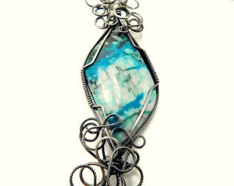 Wire Wrapped Pendant/Woodland Chrysocolla Necklace/Wire Wrapped Necklace