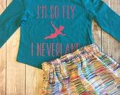 Toddler Girl outfit, Toddler Skirt Set, I'm So Fly I Neverland Tee with skirt set, Aqua Gold and Pink Skirt, Disney inspired
