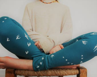 Girls leggings 1-10years blue bird print swallow little birds childrens pants child girl jersey stretch knit trousers cotton clothing kids