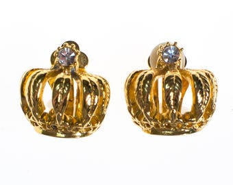 Vintage RJ Graziano Gold Crown Earrings, Clip On