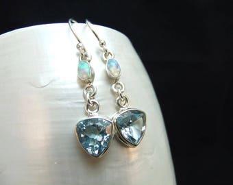 Blue Topaz & Opal Sterling Silver Handmade Earrings