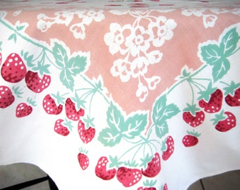 """Vintage StrawberryTablecloth, Heavy Cotton, Floral Blossoms, Red, Jadite Green, Dusty Pink, Large 63.5"""" x 52"""""""