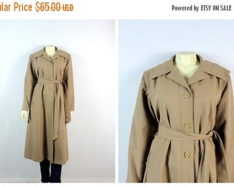 B-DAY SALE Vintage Coat 70s  Sears Taupe Belted Trench Coat Khaki Trench Coat Size Medium