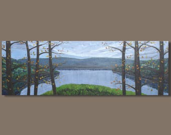 FREE SHIP abstract art, landscape painting, lake painting, cottage art, panoramic painting, tree painting, fall colors, autumn art, water