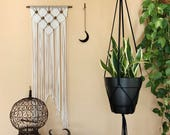 "Macrame Plant Hanger - 60"" Simple - White or Black Cotton Rope - Modern Minimalist Indoor Hanging Planter - READY TO SHIP"