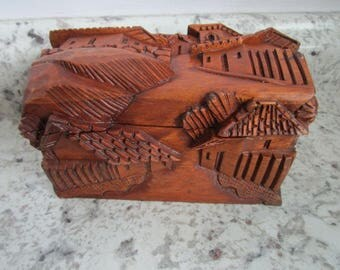 "Small Carved Wooden Trinket Box - Intricate carving of village - 6"" x 3.5"""
