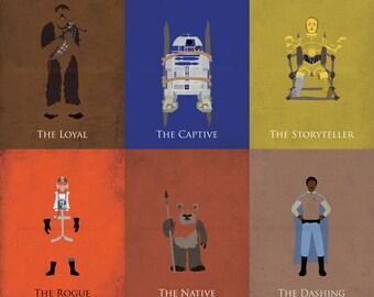 Star Wars Return of the Jedi Art Prints - Luke Skywalker, Princess Leia, Han Solo, Chewbacca, C3PO, R2D2, Wicket, Lando, Darth Vader