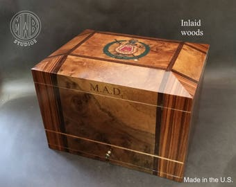 Handcrafted one of a kind inlaid humidor for that very special occasion.  Free shipping.