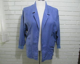 90's Lavender Linen/Cotton Slouch jacket oversize M with knit cuffs !
