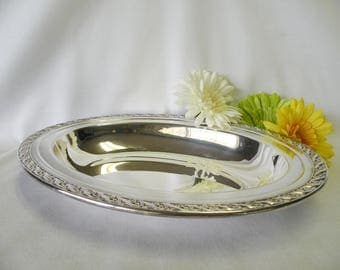 Silverplate Oval Bowl - Silverplate Serving Dish - Wedding Serving Dish, Wedding Decor, Home Decor, Holiday Server, Dining Room Accessory