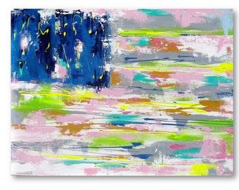 American Flag  Painting - Abstract Art - Print on Canvas - Contemporary Home Decor - Pink, Tan, Blue , Neon - Americana Home Decor - Modern