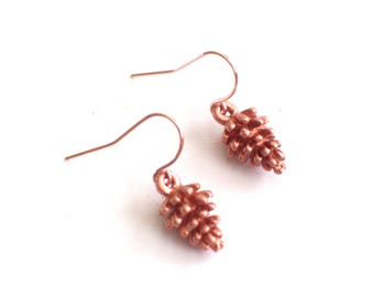 Rose Gold Pine Cone Earrings, Rose Gold Earrings, Woodland Jewelry, Pinecone Jewelry, Nature Earrings, Rose Gold Earrings, Rose Gold Jewelry