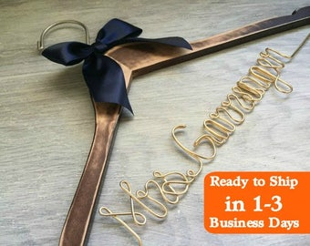 Bridesmaid Dress Hanger, Wedding Hanger, Bridal Hanger, Dress Hanger Wire, Personalized Custom Wedding Hanger, Mrs Hanger, Mrs Name Hanger
