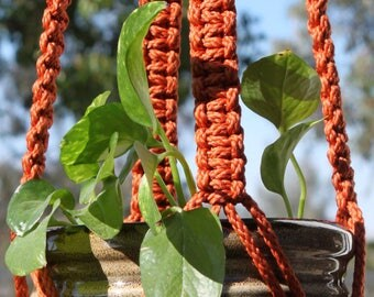 "CLASSIC - Dark Orange Handmade Macrame Plant Hanger Plant Holder with Beads - 6mm Braided Poly Cord in ""RUST"""